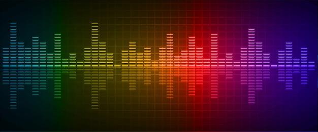 Ondes sonores oscillant rouge foncé jaune bleu clair
