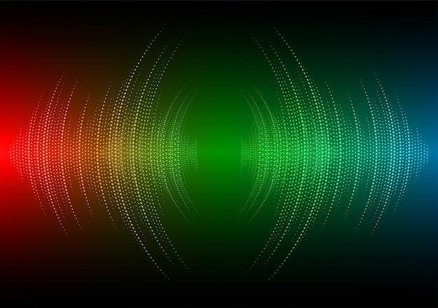 Ondes sonores oscillant rouge foncé vert bleu clair
