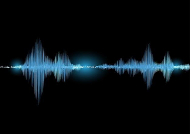 Ondes sonores oscillantes lueur lumière dans ton bleu sur fond noir, technologie numérique sp