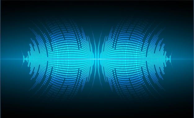 Ondes sonores oscillantes lumière bleu foncé