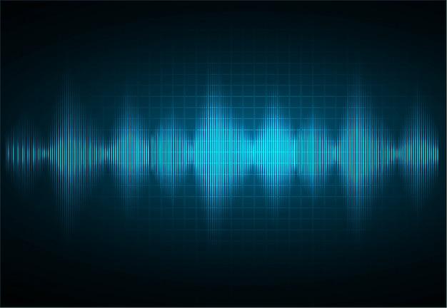 Les ondes sonores oscillent avec une lumière bleu foncé.