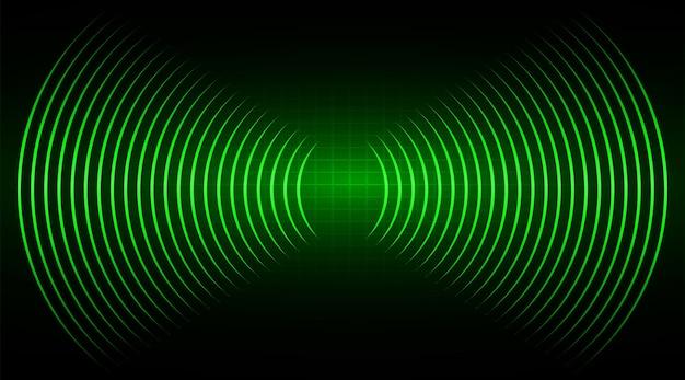 Les ondes sonores oscillent en vert foncé