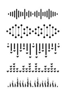 Ondes sonores simples, signal de graphique vocal, collection de formes d'ondes audio