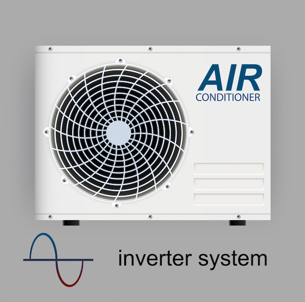 Onduleur de climatiseur split system. conditionnement réaliste avec contrôle wifi sur internet et fonctionnalités antivirus et télécommande. système de contrôle climatique illustration
