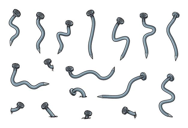 Ongles pliés en métal de dessin animé et pointes de fer cassées