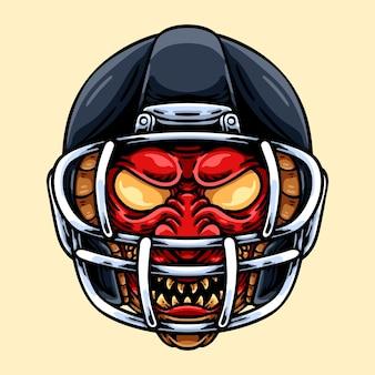 Oni japonais avec casque de football américain