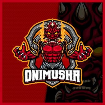 Oni mask face mascotte esport logo design illustrations vectorielles modèle, logo de monstre maléfique pour le streamer de jeu d'équipe youtuber bannière twitch discord, style de dessin animé en couleur