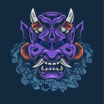 Oni violet visage culture japonaise