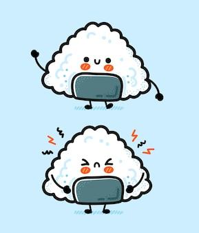 Onigiri heureux et triste drôle mignon.