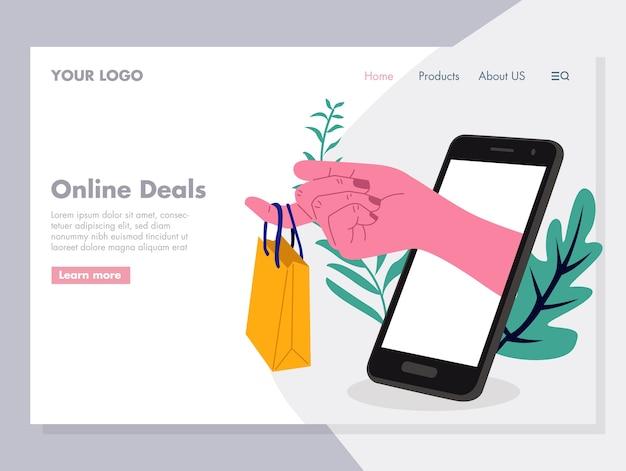 Online deals vector illustration pour la page d'atterrissage
