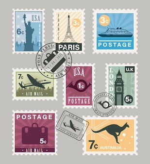 Onze timbres-poste