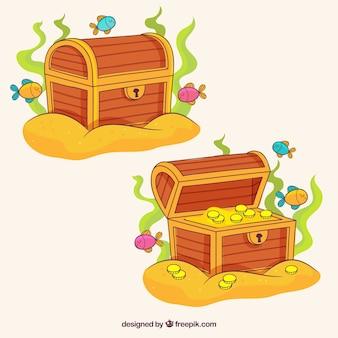 Openend et fermé collection de boîtes aux trésors