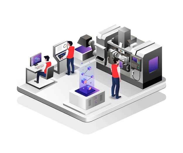 L'opérateur contrôle la machine cnc en conception isométrique