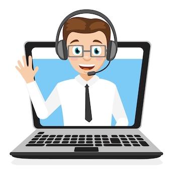 L'opérateur dans le casque en agitant sa main à partir d'un ordinateur portable sur un fond blanc.