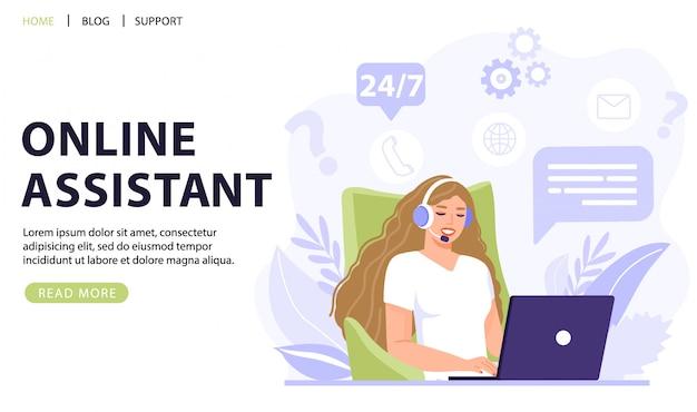 Opérateur de femme parlant avec le client. support technique en ligne 24/7.