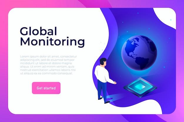 Opérateur de gestion des processus de données d'entreprise travaillant avec la page de destination de la projection de la planète terre