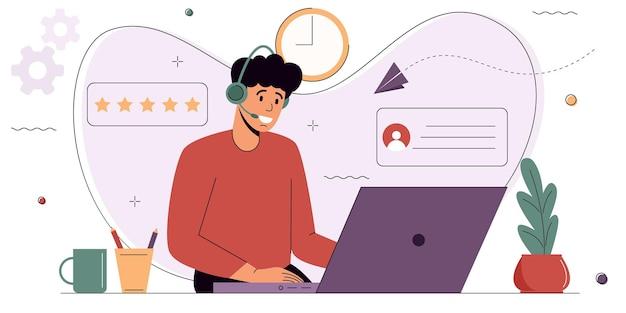 Opérateur de ligne d'assistance en ligne support client en ligne centre d'appels d'assistant personnel