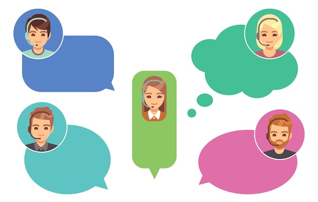 Opérateurs de centres d'appels. avatars de soutien, service d'aide en ligne. garçon de fille de dessin animé mignon en illustration vectorielle de discours bulles. assistance client, homme avec casque