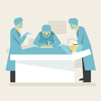 Opération chirurgicale de médecins dans l'illustration de salle blanche.