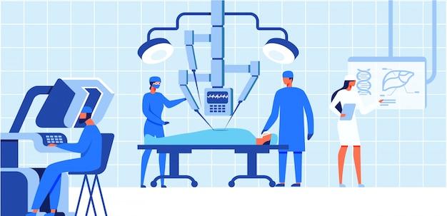 Opération médicale de chirurgie robotique pour patient.