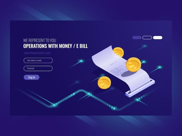 Opérations avec de l'argent, facture électronique, pièce de monnaie, transaction chash