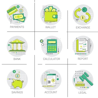 Opérations bancaires business finance planning online payment icon set