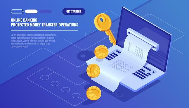 Opérations bancaires en ligne, réception électronique de factures par internet, transaction de monnaie de protection