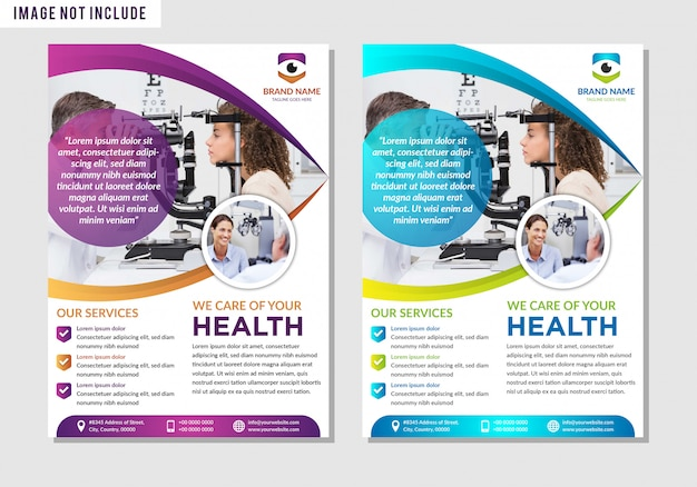 Ophtalmique. modèle de taille a4 pour le modèle de flyer soins médicaux santé