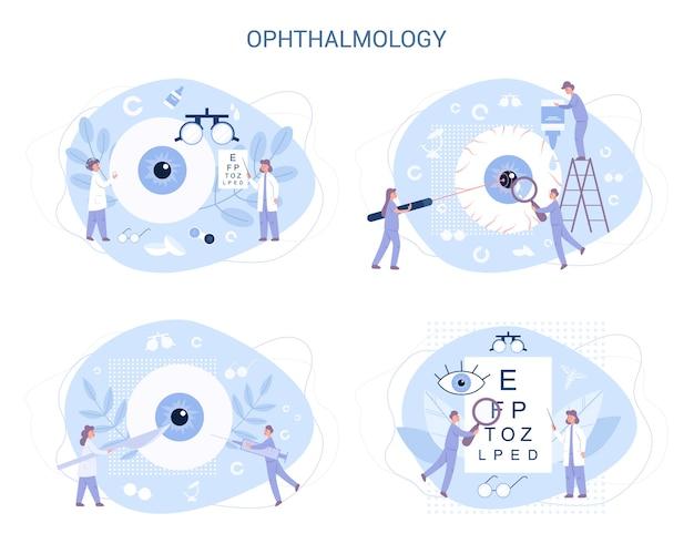 Ophtalmologie. idée de soin des yeux et du viion. set de traitement oculiste. examen et correction de la vue.