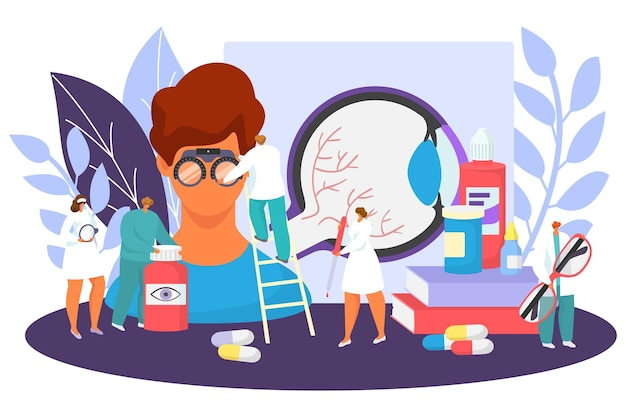 Ophtalmologie soins médicaux concept vector illustration petit ophtalmologiste médecin test de caractère ey...