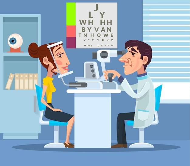 Ophtalmologiste en visite chez le patient