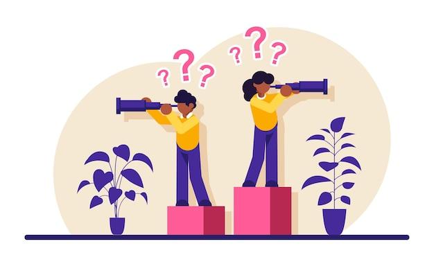 Opportunité comme vision d'opportunités pour les entreprises concurrentes à la recherche de futurs plans d'entreprise
