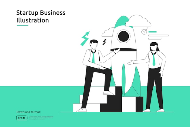 Opportunité de démarrage, entreprise d'investissement, conseiller financier, lancement d'entreprise, franchisage, concept de mentorat. page de destination web de conception plate de métaphore de succès ou site web mobile