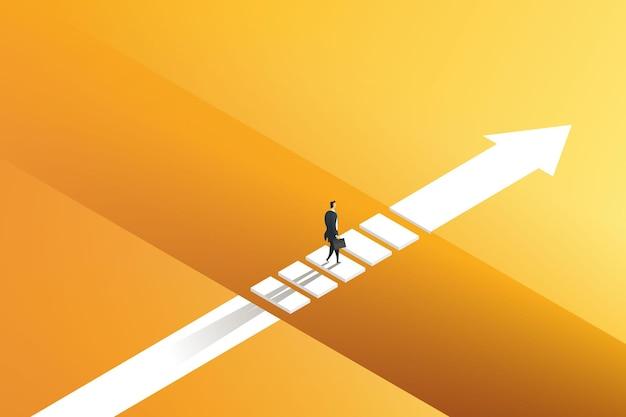 Opportunité pour les hommes d'affaires de traverser le fossé de l'autre côté à travers des défis