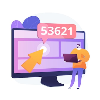Optimisation du moteur de recherche. personnage de dessin animé spécialisé en référencement augmentant le trafic et la visibilité du site web. marketing internet, publicité, ciblage.