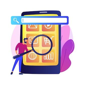 Optimisation du moteur de recherche. promotion en ligne. personnage de dessin animé de smm manager. paramètres mobiles, ajustement des outils, plateforme métier. analyse de site web.