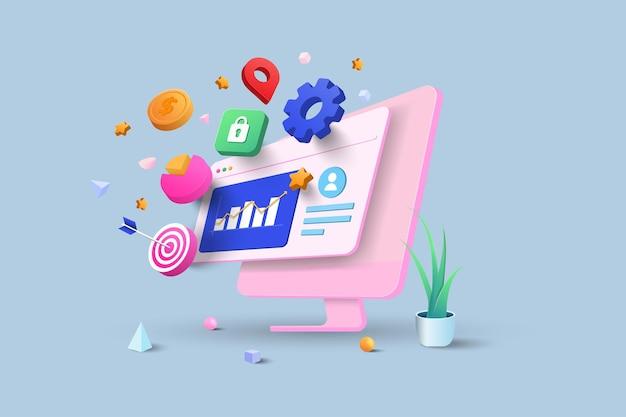 Optimisation du référencement, analyse web et concept de médias sociaux seo marketing. illustration vectorielle 3d