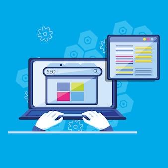 Optimisation des moteurs de recherche avec ordinateur portable