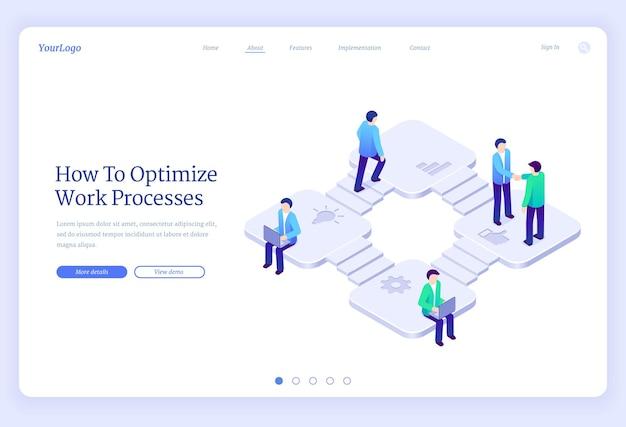 Optimisation des processus de travail page de destination isométrique productivité des entreprises coopération marketing stratégie développement gens d'affaires dans les escaliers se serrant la main travaillant sur ordinateur portable d bannière web