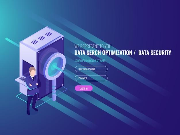 Optimisation de la recherche de données, serveur d'information, protection et sécurité de la base de données