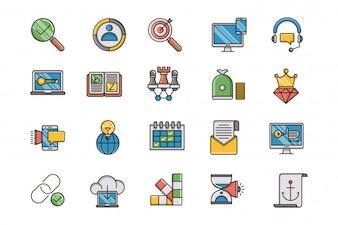 Optimisation SEO et web rempli d'icônes de contour