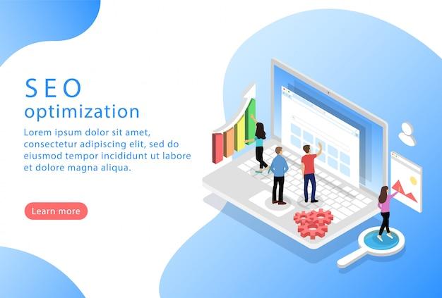 Optimisation seo. isométrique. page de destination pour les sites web.