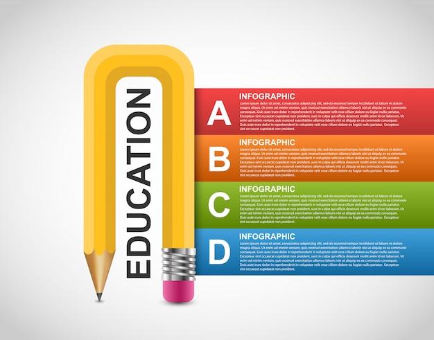 Option de crayon de l'éducation modèle de conception d'infographie.