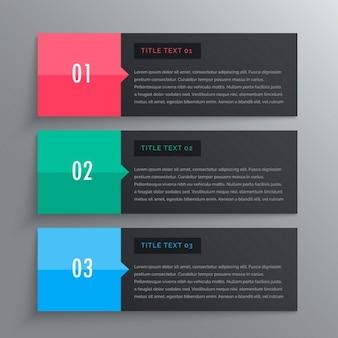 Les options de conception infographique avec trois étapes