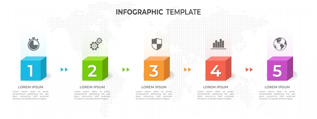 Options du modèle 5 de chronologie infographique.