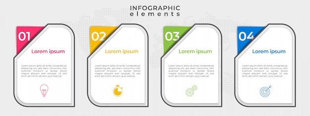 Options ou étape de chronologie infographique moderne.