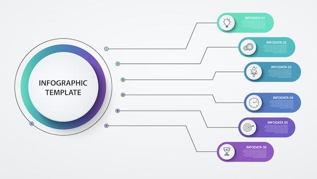 Options ou étapes des cercles d'infographie. concept d'entreprise, diagramme, graphique d'information, processus de camembert.