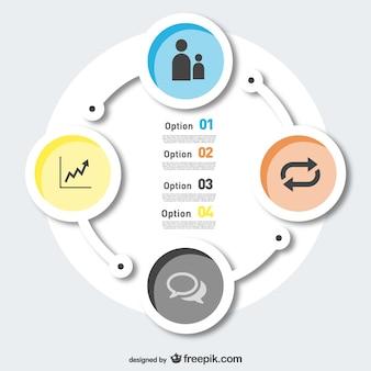 Options gratuites rondes modernes infographie