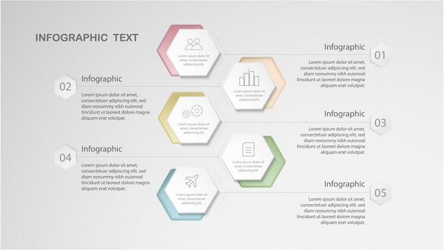 Options de modèle d'infographie avec hexagone et style minimal pour la mise en page du flux de travail, diagramme, options de nombre, options de progression