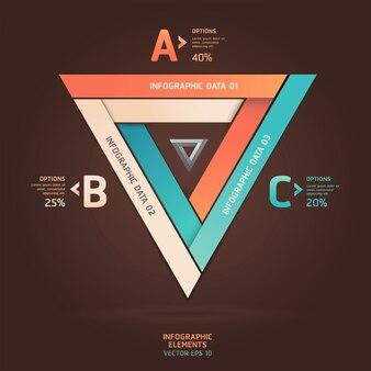 Options modernes de style origami triangle infini. mise en page de flux de travail, diagramme, options d'étape, conception de sites web, options de nombre, infographie.
